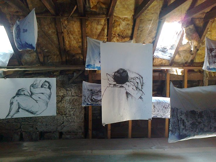 'Sleep', installation with charcoal drawings and collagraphs