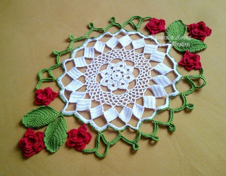 Beautiful Doily that folds up to make a basket of roses - free diagram - maomao - I move your feet