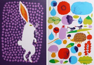 folk-art-esque woodland illustrations by Helsinki-based illustrator Aino-Maija Metsola (who also does patterns and illustrations for Marimekko).