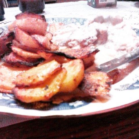 Pork tenderloin with mustard-sour cream sauce.