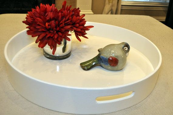 30 Round Large Ottoman Tray  White by LoveitUpDecor on Etsy