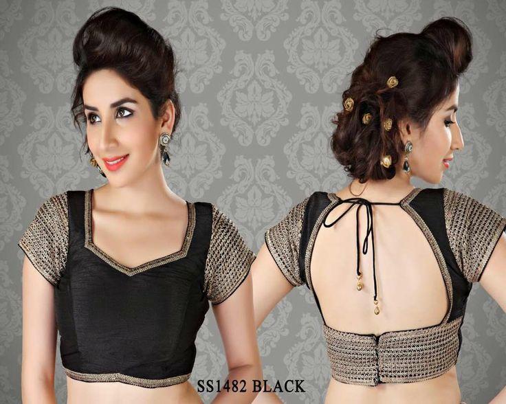 Black Stunning Chanderi Fabric Saree Blouse