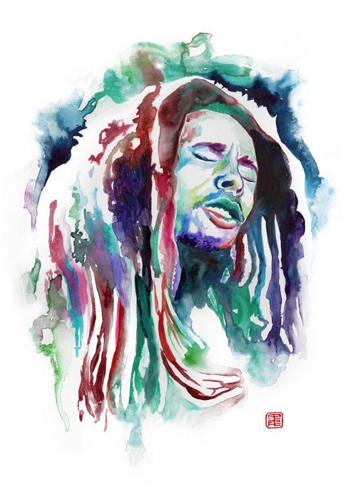BOB MARLEY WATERCOLOR portrait  Fan art painting by SesCaniques
