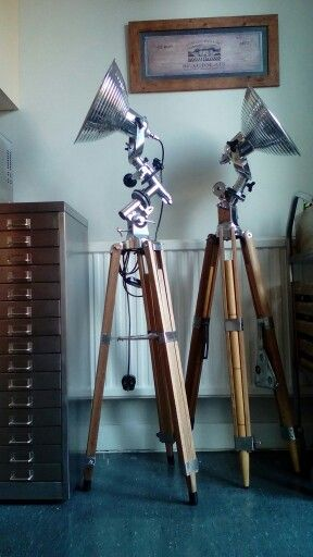 Completely refurbished Vintage industrial/ studio floor lights on vintage tripods. By Mike Bainbridge.