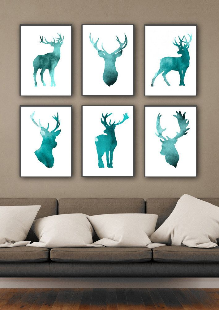 home interior deer pictures set of 6 deer figurine print teal home decor antlers 18244
