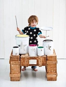 paint can drumset...lots of great kid instrument ideas in this post!: Diy Drum, Idea, Craft, Paint Cans, Drum Sets, Kids, Drums, Homemade Drum, Drum Kit