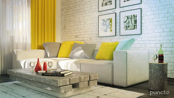 Livingroom interior design and rendering created by Puncto.ro