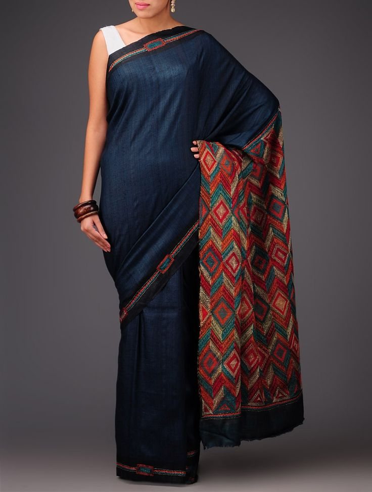 Buy Royal Blue Tussar Silk Kantha Embroidered Saree Sarees Art Reveal Tales Online at Jaypore.com