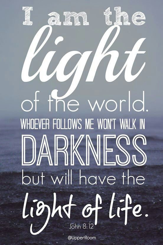 I am the light of the world. Whoever follows me will never walk in darkness, but will have the light of life. John 8:12