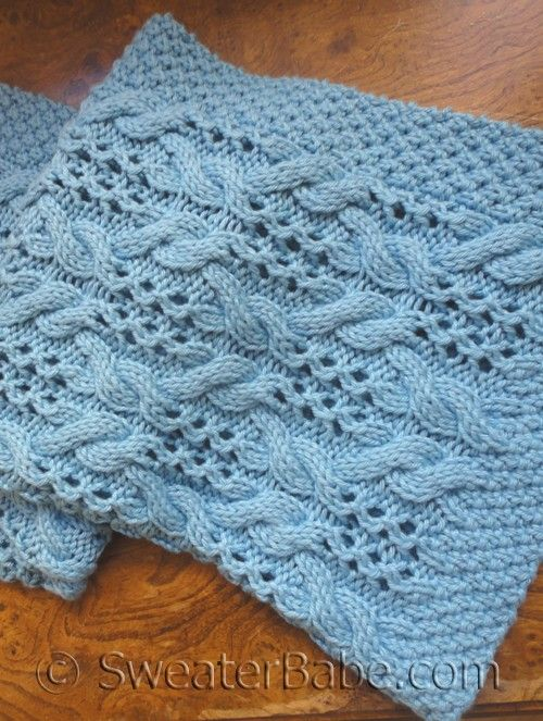 PDF Knitting Pattern for Textured Lace Baby Blanket from SweaterBabe.com