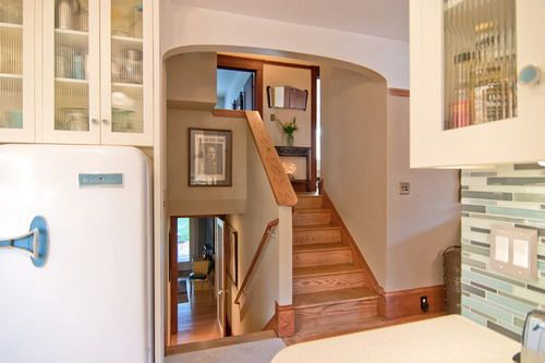 Traditional wooden staircase split level home interior designs