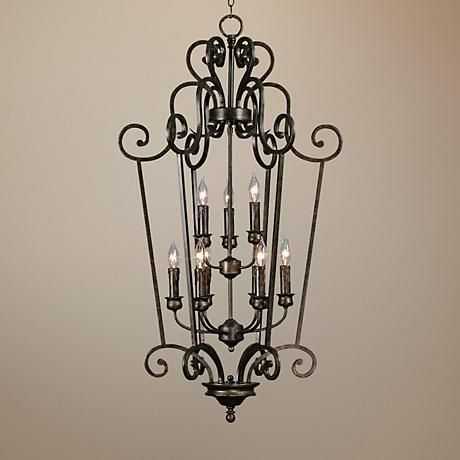 "Heartwood Burnt Sienna 44"" High Entry Chandelier"