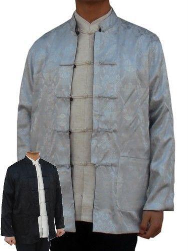 Серебро черный мужская реверсивный шелковый атлас куртка два - лицо тан-костюм мандарин воротник кнопка пальто размер L XL XXL XXXL 0937