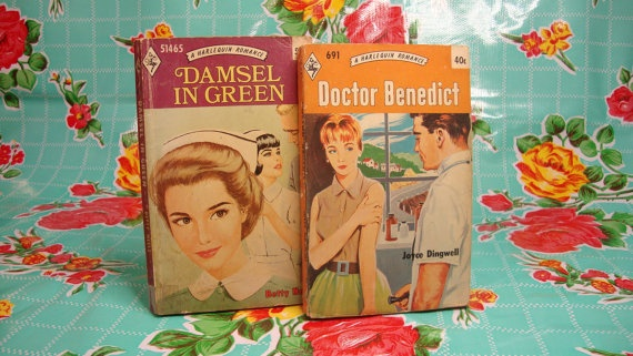 Pair of Vintage Harlequin Romance Novels- Doctor Benedict and Damsel in Green