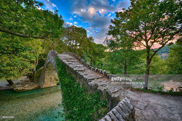 Klidhonia's stone bridge above Voidomatis river from where begins Vikos gorge