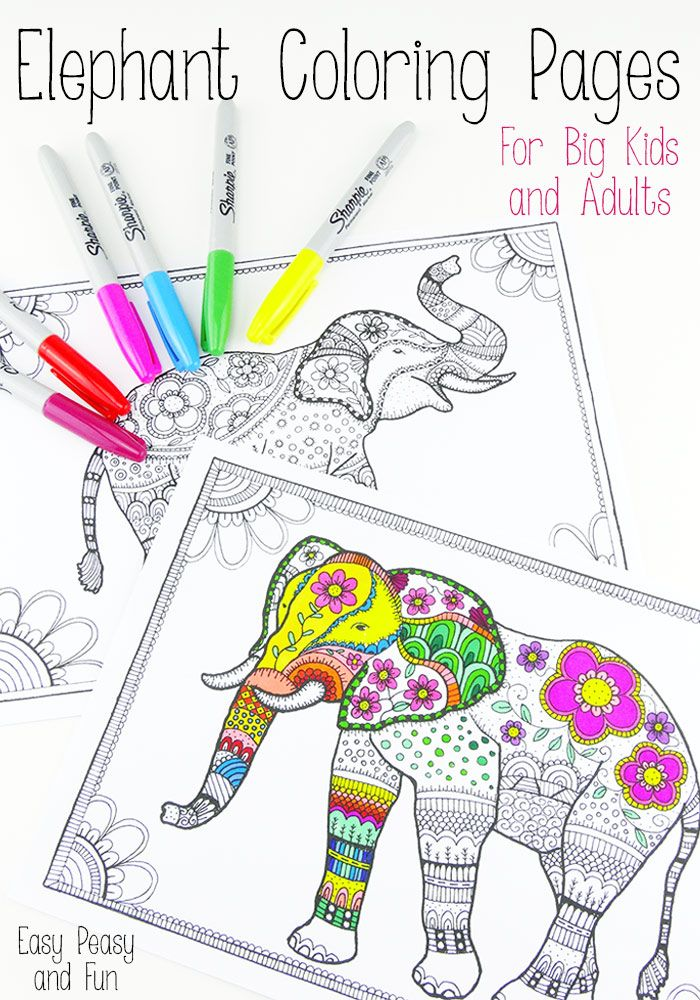 Free Elephant Coloring Pages for Adults - Easy Peasy and Fun