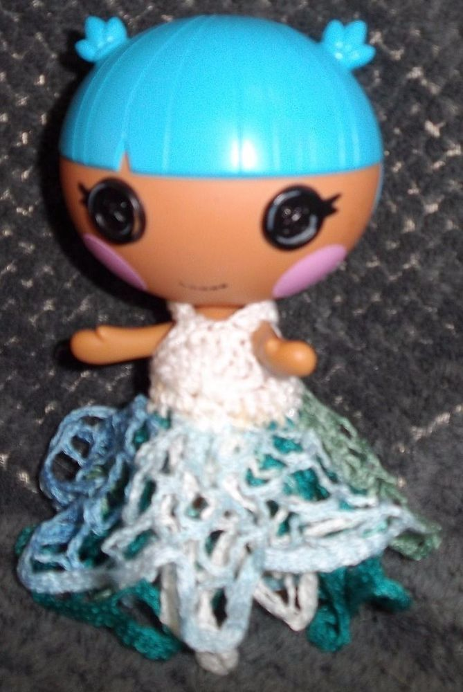 LalaLoopsy Little sister's crochet WHITE with variegated long skirt