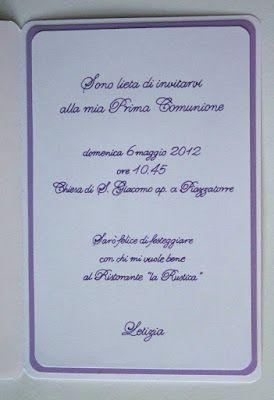 Come promesso ecco i lavori per la Prima Comunione di Letizia. Comincio col pubblicare gli inviti.   Per Letizia quest'anno ho scelto il lil...