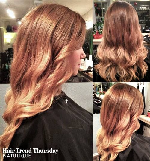 This Hair Trend Thursday we are looking at a styling and colour by Klipp Design, in Sweden. A beautiful warm strawberryblond ombre styled with long soft curls.