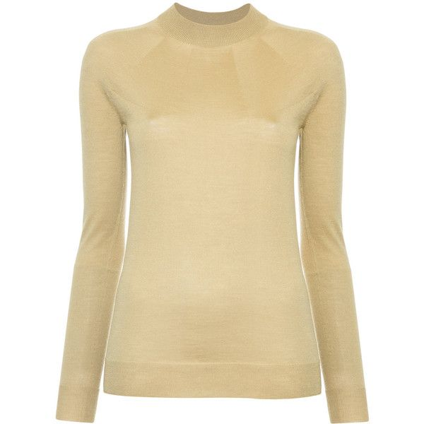 Lemaire rib knit sweater ($382) ❤ liked on Polyvore featuring tops, sweaters, rib knit sweater, beige sweater, lemaire, ribbed knit top and ribbed knit sweater