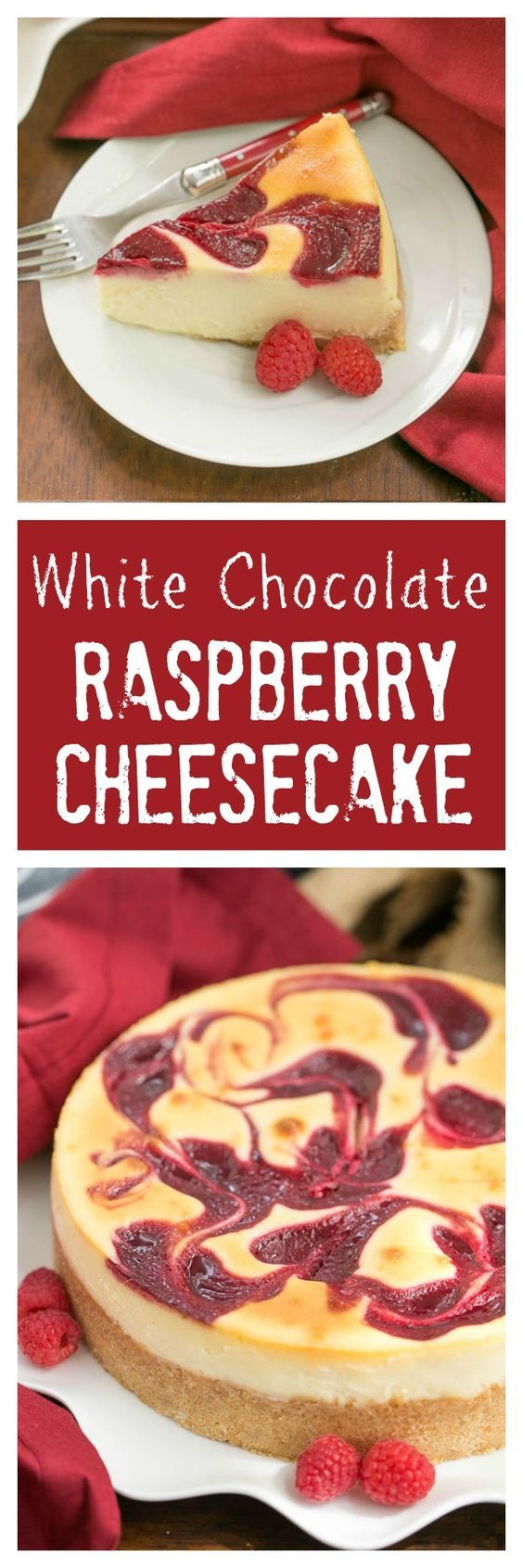White Chocolate Raspberry Swirl Cheesecake | A luscious White Chocolate Cheesecake with a marbleized raspberry topping @lizzydo