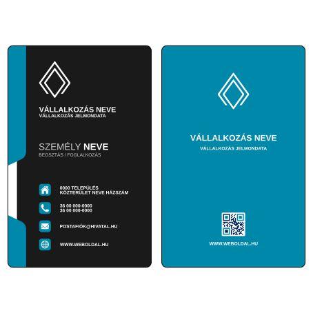 Üzleti névjegykártya tervek (álló elrendezés) Kék / Fekete