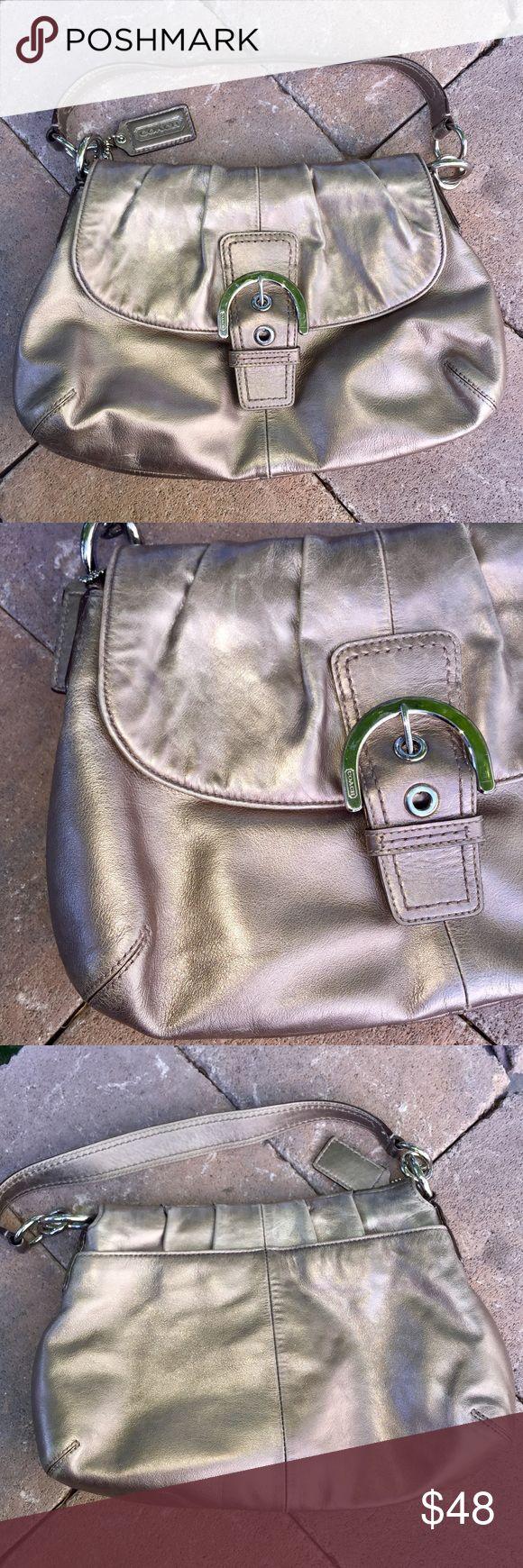 "Coach medium size bronze metallic purse Cute bronze metallic Coach purse. 14"" x 10"" Lots of interior pockets! Very good used condition. Coach Bags Satchels"