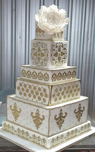 "White and Gold elegant square wedding cake. We can help achieve this look at Dallas Foam with cake dummies, cupcake stands and cakeboards. Just use ""2015pinterest"" as the item code and receive 10% off your first order @ www.dallas-foam.com. Like us on Facebook for more discount offers!"