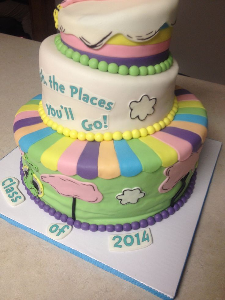 Topsy turvy oh the places you will go three tier graduation cake