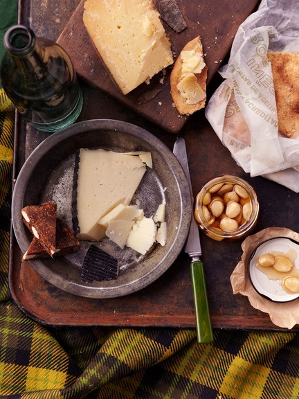 Spanish Spread: Manchego cheese, Mahon cheese, Quince, Marconas in honey, fig almond cake, olive oil Tortas