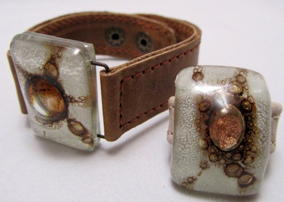 Leather and fused glass Cuff and matching ring 2 by CarliBruno, $65.00