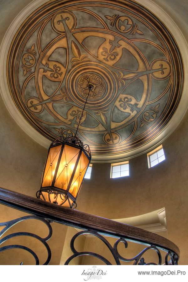 Fantastic colors and stencil.  by Imago Dei.: Faux Finish, Ceilings Treatments, Paintings Ceilings, Art Nouveau, Faux Paintings, Ceilings Medallions, Ceilings Murals, Amazing Ceilings, Ceilings Ideas