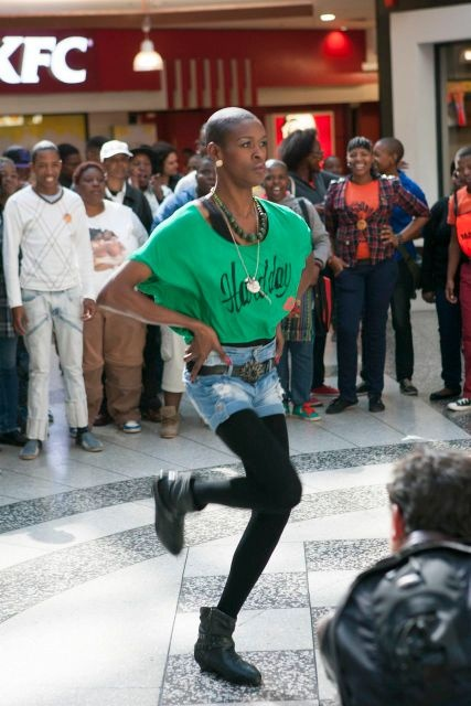 IDAHOT 2013, Johannesburg. Candice Nkosi, the lead dancer of the flashmob,  opening the action with her solo performance that deeply moved everyone in the Carlton Centre.