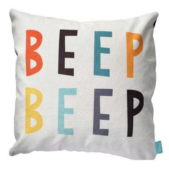 Children's Throw Pillow Cover Beep Beep Car or Truck Theme Cushion Cover