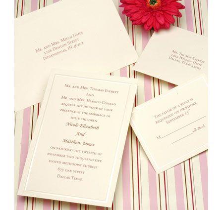 Pearl Border Ivory Wedding Invitation Kits