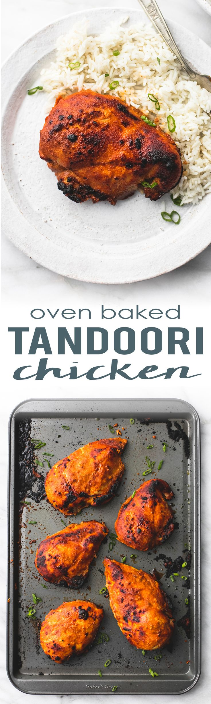 Flavorful and juicy, restaurant-quality oven baked tandoori chicken! Serve with naan and basmati rice for a tasty meal your family will crave! | lecremedelacrumb.com