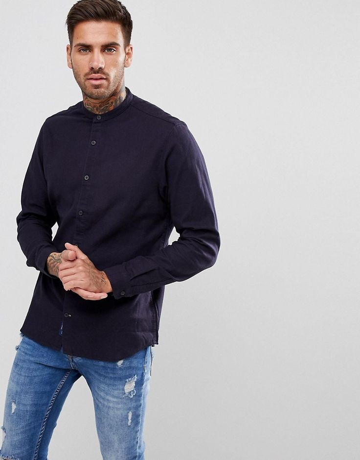 Pull&Bear Brushed Cotton Grandad Collar Shirt In Navy - Navy