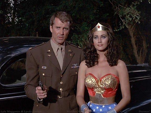 """Wonder Woman"" (1975-1979) Lyle Waggoner as Steve Trevor and Lynda Carter as Diana Prince/Wonder Woman"