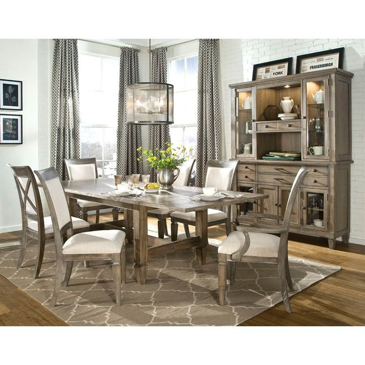 legacy brownstone village 7 piece trestle dining table set with upholstered
