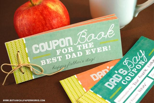 Show Dad the Love With These Free, Printable Father's Day Coupon Books: Free, Printable Father's Day Coupon Book from Botanical Paperworks
