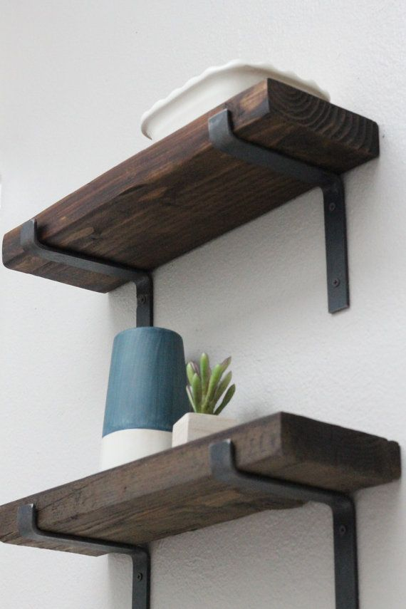 Metal Shelf Bracket Set of 2 Medium Raw Steel by CascadeIronCo