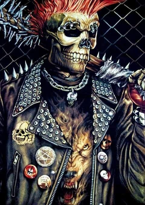 Badass punk skeleton