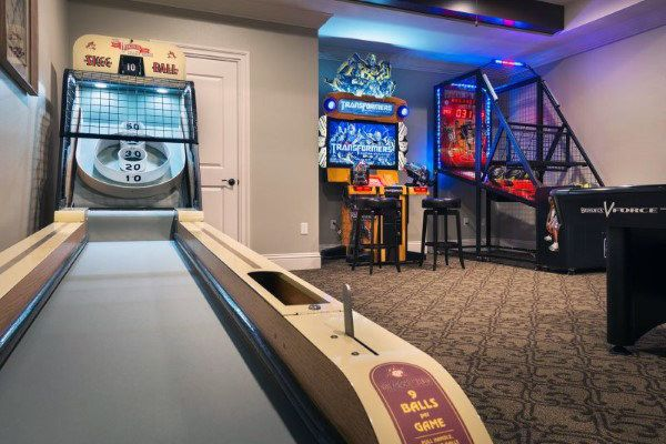60 Game Room Ideas For Men Cool Home Entertainment Designs Game Room Family Arcade Room Game Room Design