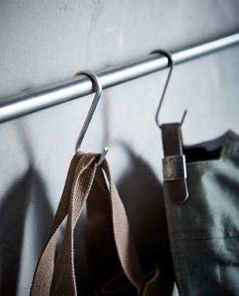 Hooks on rails hanging equipment