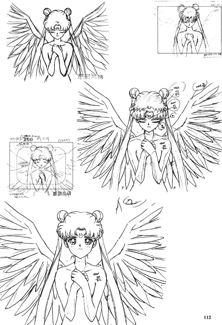 "Animation sketches of Princess Serenity with angel wings from ""Sailor Moon"" series by manga artist Naoko Takeuchi."