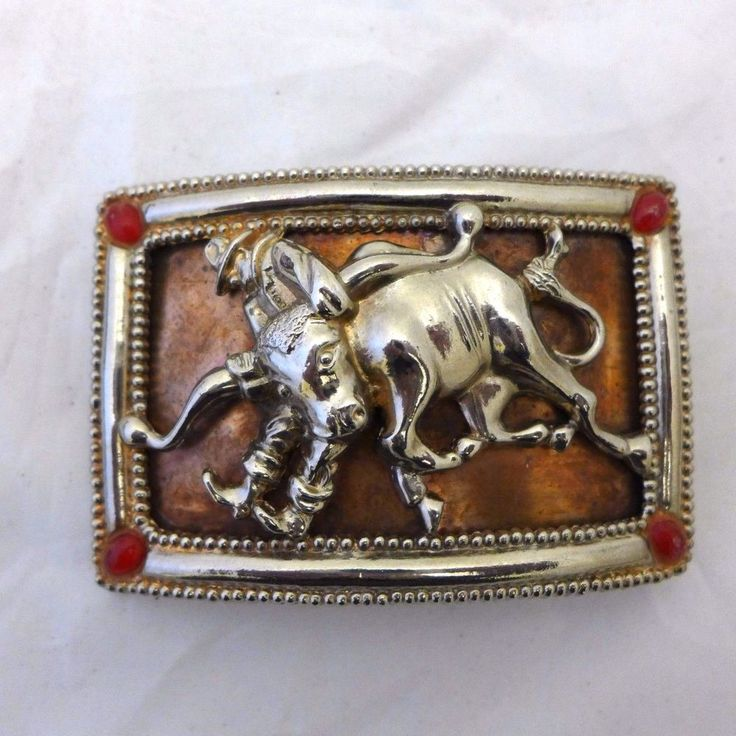 Vintage Rodeo Belt Buckle Cowboy Horse Bronze Silver 1970 Pat Pending  #Unbranded