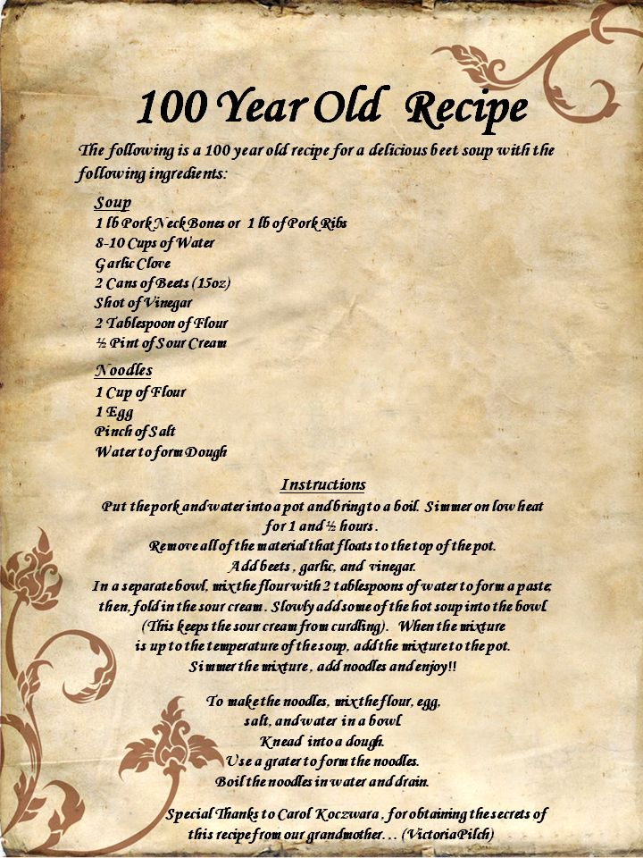 100 Year Old Recipe