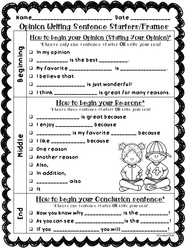 Opinion Writing Graphic Organizers & Sentence Starters/Frames