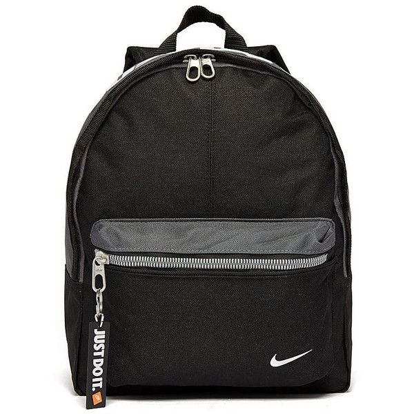 Nike Just Do It Mini Backpack ($22) ❤ liked on Polyvore featuring bags, backpacks, accessories, nike, bolsas, mini bag, nike backpack, sports backpack, sport backpack and black rucksack