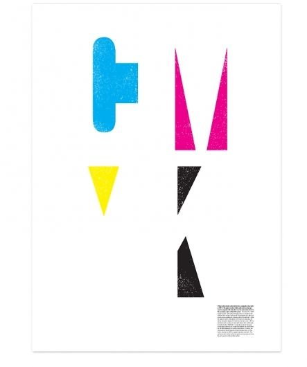 -CMYK  -minimal line and shape make this an interesting piece  -each color's surrounding white space implies each letter